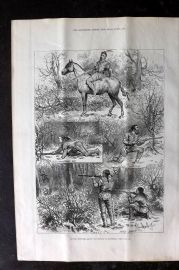 ILN 1880 Antique Print. Hunting Sketches among the Indians of Minnesota USA